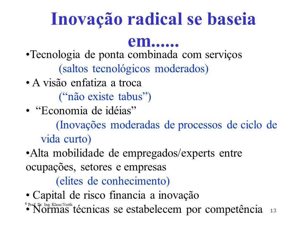 © Prof. Dr. Ing. Klaus North 13 Inovação radical se baseia em...... Tecnologia de ponta combinada com serviços (saltos tecnológicos moderados) A visão