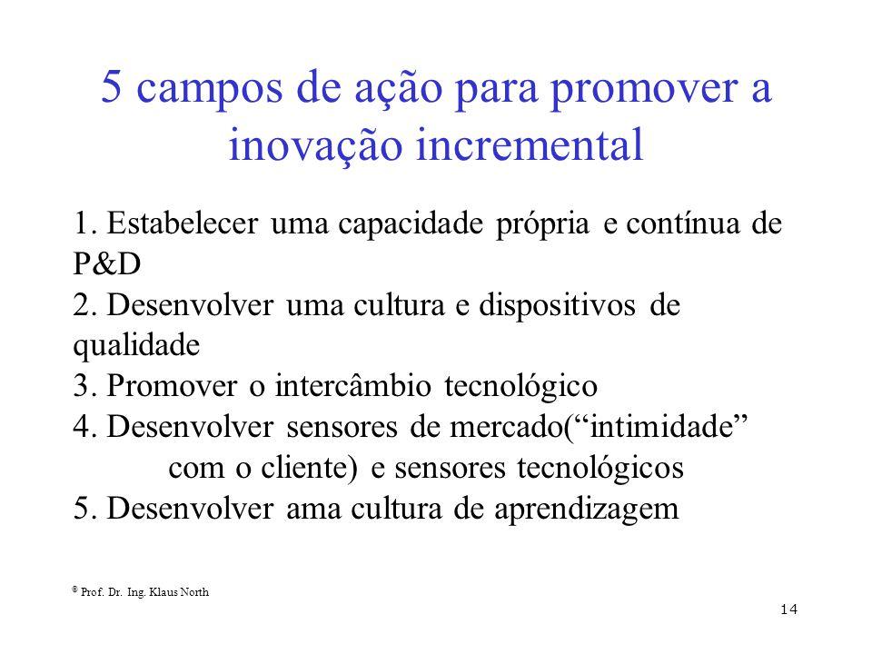 © Prof. Dr. Ing. Klaus North 14 5 campos de ação para promover a inovação incremental 1. Estabelecer uma capacidade própria e contínua de P&D 2. Desen