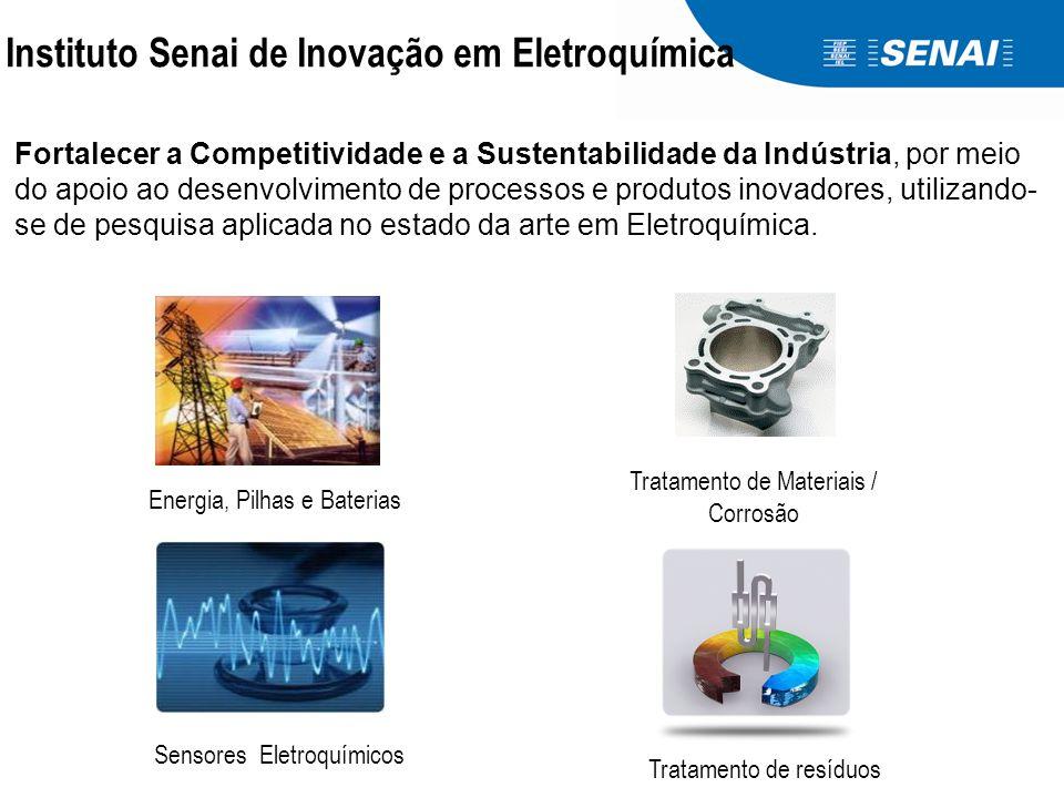 Instituto Senai de Inovação em Eletroquímica Fortalecer a Competitividade e a Sustentabilidade da Indústria, por meio do apoio ao desenvolvimento de processos e produtos inovadores, utilizando- se de pesquisa aplicada no estado da arte em Eletroquímica.