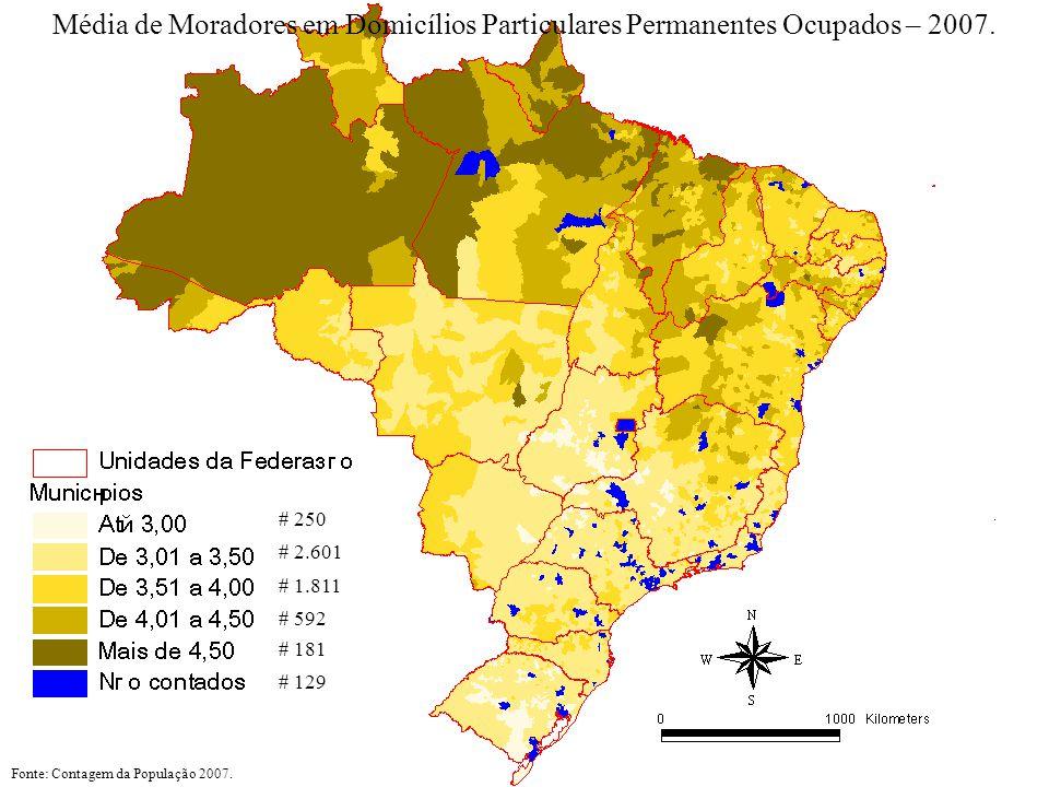# 250 # 1.811 # 2.601 # 592 # 181 # 129 Fonte: Contagem da População 2007. Média de Moradores em Domicílios Particulares Permanentes Ocupados – 2007.