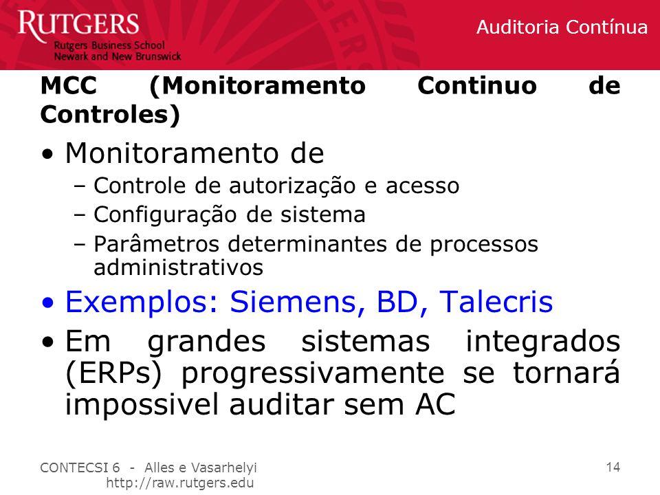 CONTECSI 6 - Alles e Vasarhelyi http://raw.rutgers.edu Auditoria Contínua 14 MCC (Monitoramento Continuo de Controles) Monitoramento de –Controle de autorização e acesso –Configuração de sistema –Parâmetros determinantes de processos administrativos Exemplos: Siemens, BD, Talecris Em grandes sistemas integrados (ERPs) progressivamente se tornará impossivel auditar sem AC