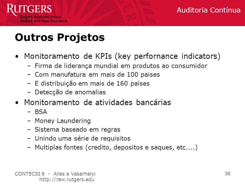 CONTECSI 6 - Alles e Vasarhelyi http://raw.rutgers.edu Auditoria Contínua 36 Outros Projetos Monitoramento de KPIs (key perfornance indicators) –Firma de liderança mundial em produtos ao consumidor –Com manufatura em mais de 100 paises –E distribuição em mais de 160 países –Detecção de anomalias Monitoramento de atividades bancárias –BSA –Money Laundering –Sistema baseado em regras –Unindo uma série de requisitos –Multiplas fontes (credito, depositos e saques, etc....)