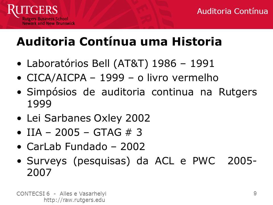 CONTECSI 6 - Alles e Vasarhelyi http://raw.rutgers.edu Auditoria Contínua 9 Laboratórios Bell (AT&T) 1986 – 1991 CICA/AICPA – 1999 – o livro vermelho Simpósios de auditoria continua na Rutgers 1999 Lei Sarbanes Oxley 2002 IIA – 2005 – GTAG # 3 CarLab Fundado – 2002 Surveys (pesquisas) da ACL e PWC 2005- 2007 Auditoria Contínua uma Historia
