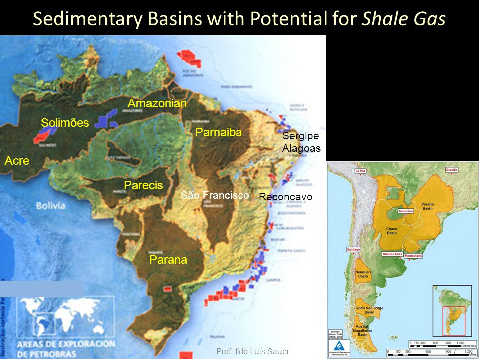 ACCORDING ANP Petroleum, Natural Gas and Biofuels National Agency  Parnaíba Basin Shale layers are located at depths of 1.600 - 2.500 m V = 64.000 (area) x 0,04 (average thickness) = 2.560 km 3 Barnett shale analogy 1.196 km 3 ______ 30 TCF 2.560 km 3 ______ x TCF x = 64 TCF Prof.