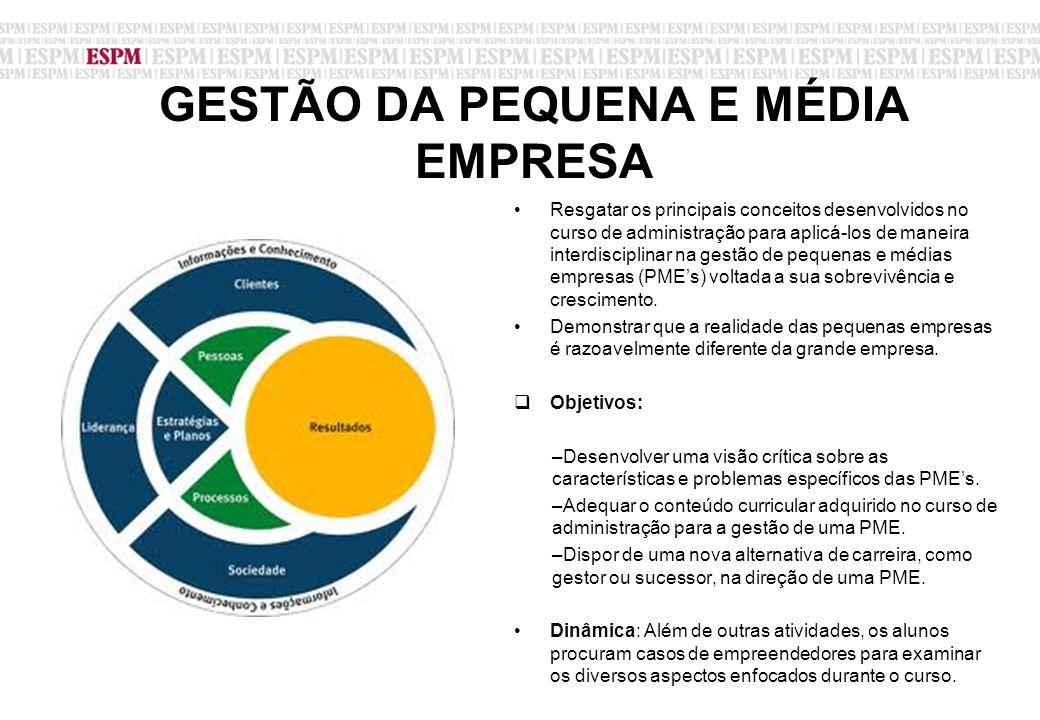 GESTÃO DA PEQUENA E MÉDIA EMPRESA Resgatar os principais conceitos desenvolvidos no curso de administração para aplicá-los de maneira interdisciplinar na gestão de pequenas e médias empresas (PME's) voltada a sua sobrevivência e crescimento.