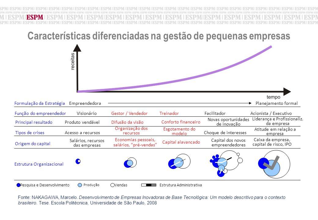 Características diferenciadas na gestão de pequenas empresas EmpreendedoraPlanejamento formalFormulação da Estratégia Produto vendável Liderança e Profissionaliz.