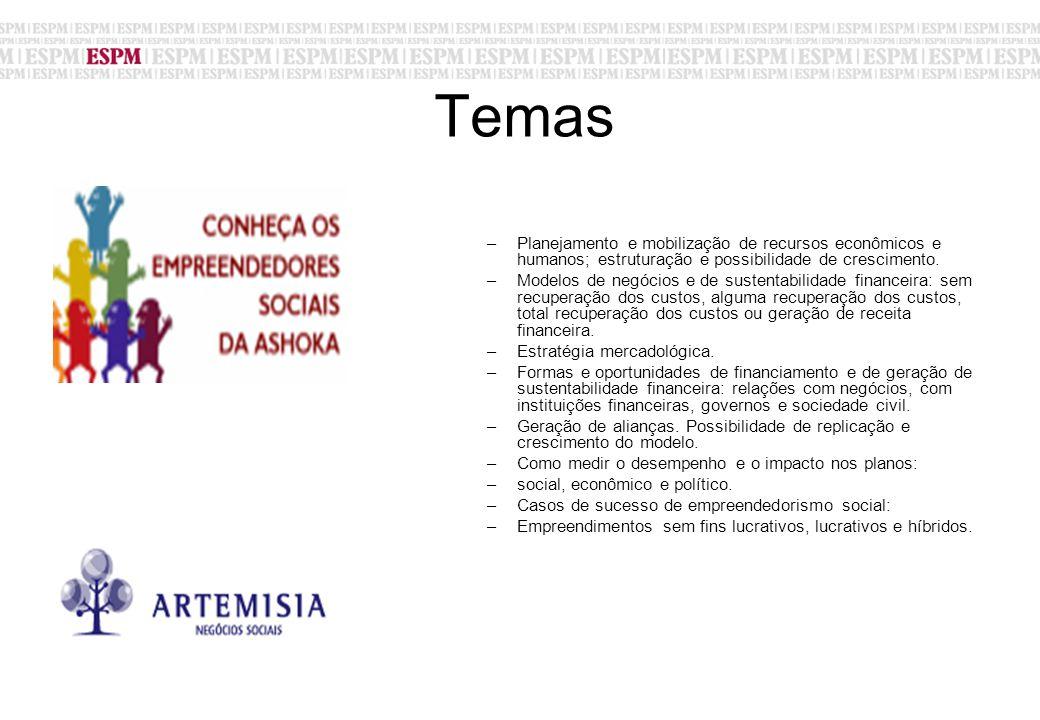 Temas –Planejamento e mobilização de recursos econômicos e humanos; estruturação e possibilidade de crescimento.