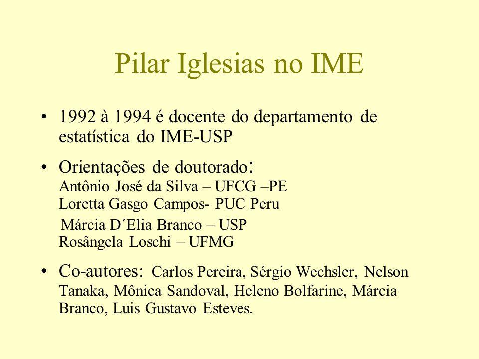 Pilar Iglesias no IME 1992 à 1994 é docente do departamento de estatística do IME-USP Orientações de doutorado : Antônio José da Silva – UFCG –PE Lore