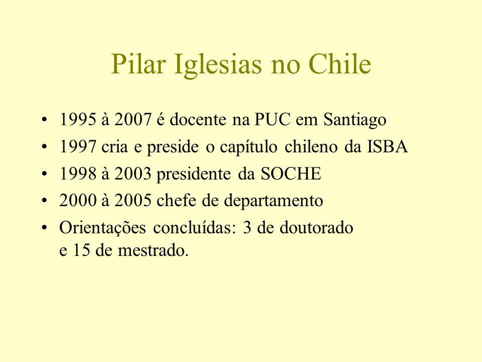 Pilar Iglesias no Chile 1995 à 2007 é docente na PUC em Santiago 1997 cria e preside o capítulo chileno da ISBA 1998 à 2003 presidente da SOCHE 2000 à