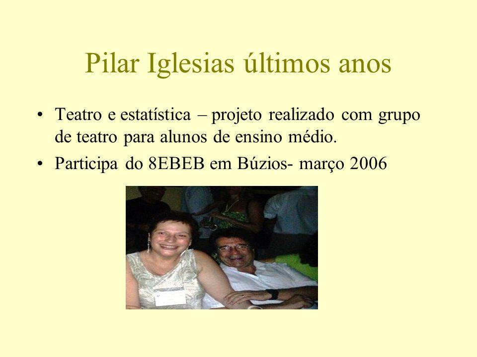 Pilar Iglesias últimos anos Teatro e estatística – projeto realizado com grupo de teatro para alunos de ensino médio. Participa do 8EBEB em Búzios- ma