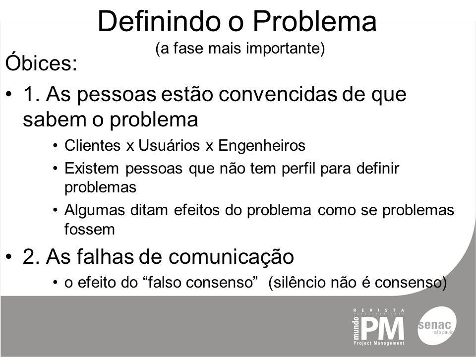 Definindo o Problema (a fase mais importante) Óbices: 1.
