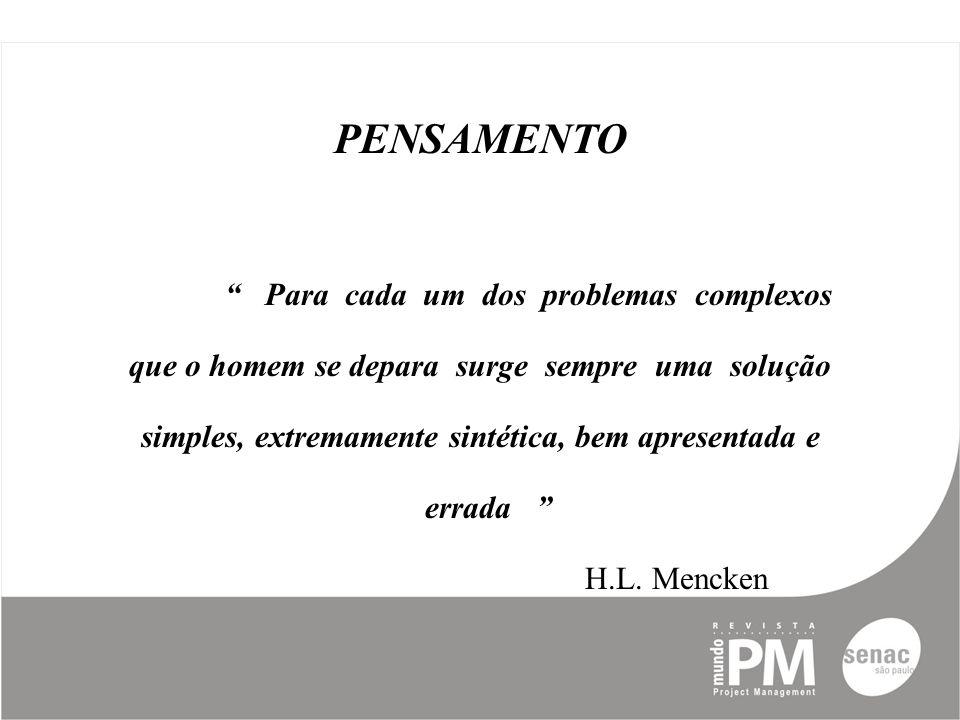 PENSAMENTO Para cada um dos problemas complexos que o homem se depara surge sempre uma solução simples, extremamente sintética, bem apresentada e errada H.L.