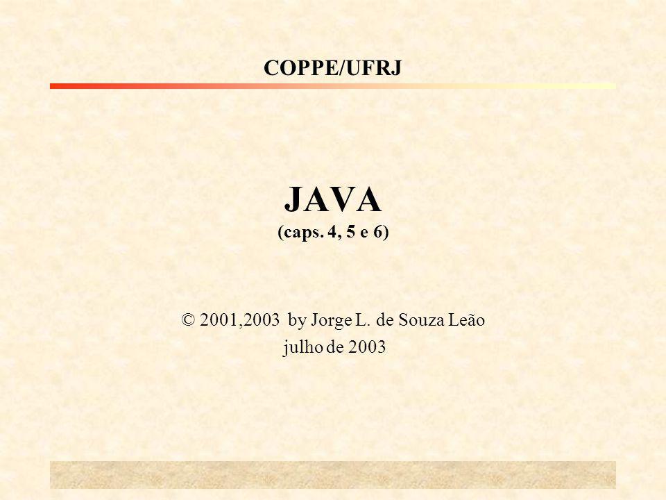 JAVA (caps. 4, 5 e 6) © 2001,2003 by Jorge L. de Souza Leão julho de 2003 COPPE/UFRJ