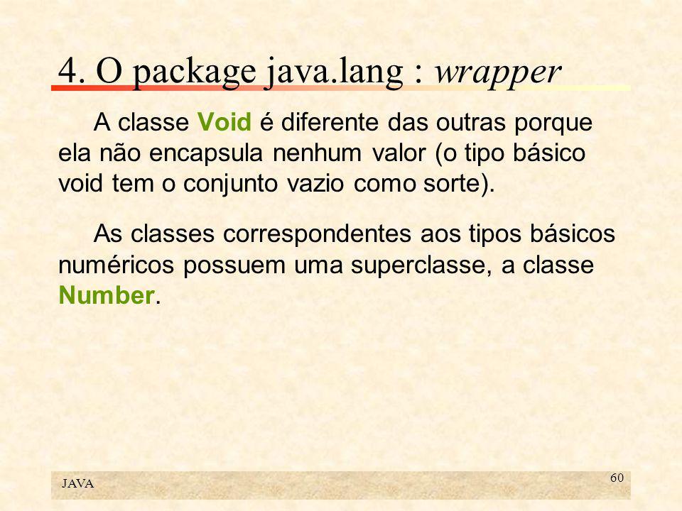 JAVA 60 4. O package java.lang : wrapper A classe Void é diferente das outras porque ela não encapsula nenhum valor (o tipo básico void tem o conjunto