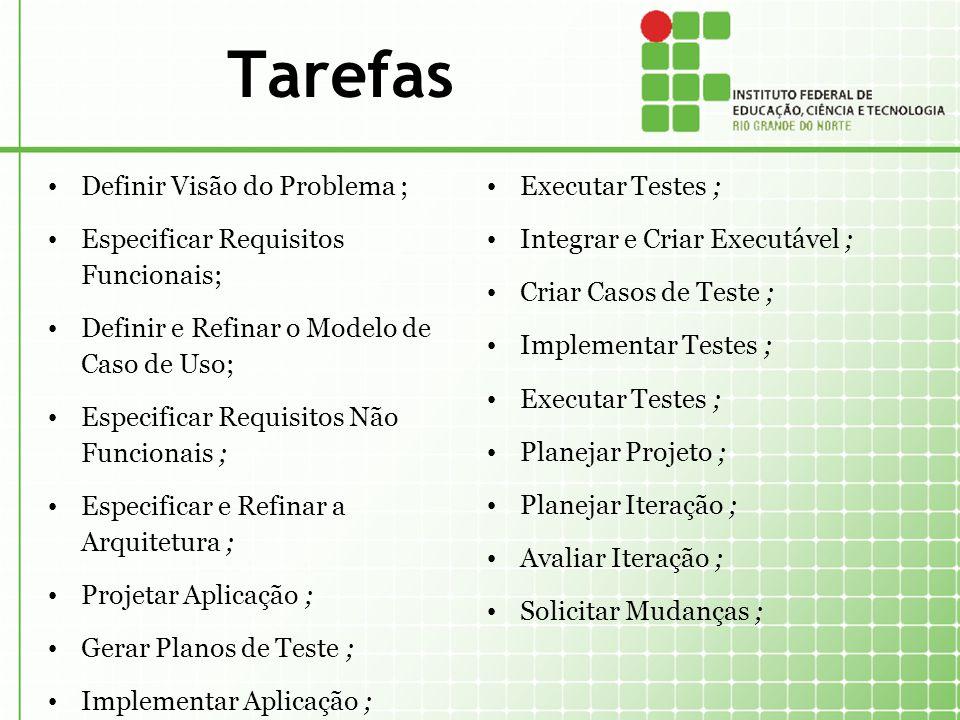Tarefas Definir Visão do Problema ; Especificar Requisitos Funcionais; Definir e Refinar o Modelo de Caso de Uso; Especificar Requisitos Não Funcionai