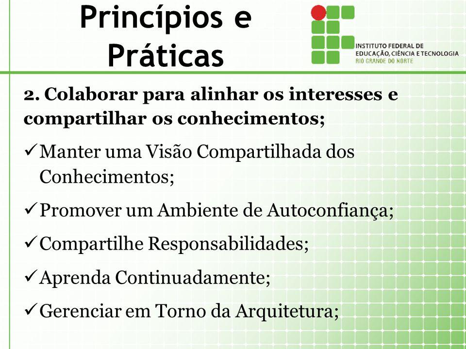 Princípios e Práticas 2.Colaborar para alinhar os interesses e compartilhar os conhecimentos; Manter uma Visão Compartilhada dos Conhecimentos; Promov