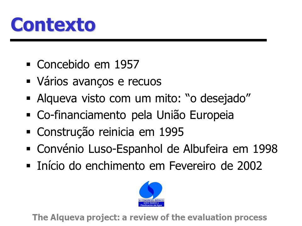 Contexto  Concebido em 1957  Vários avanços e recuos  Alqueva visto com um mito: o desejado  Co-financiamento pela União Europeia  Construção reinicia em 1995  Convénio Luso-Espanhol de Albufeira em 1998  Início do enchimento em Fevereiro de 2002 The Alqueva project: a review of the evaluation process