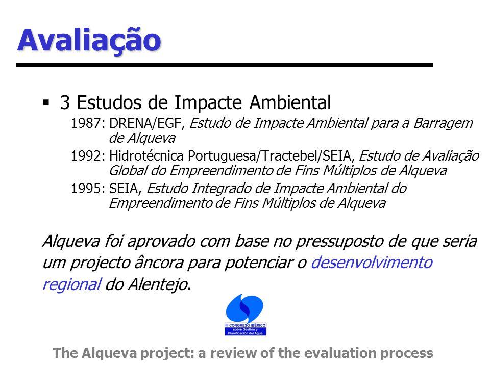 Avaliação  3 Estudos de Impacte Ambiental 1987: DRENA/EGF, Estudo de Impacte Ambiental para a Barragem de Alqueva 1992: Hidrotécnica Portuguesa/Tractebel/SEIA, Estudo de Avaliação Global do Empreendimento de Fins Múltiplos de Alqueva 1995: SEIA, Estudo Integrado de Impacte Ambiental do Empreendimento de Fins Múltiplos de Alqueva Alqueva foi aprovado com base no pressuposto de que seria um projecto âncora para potenciar o desenvolvimento regional do Alentejo.