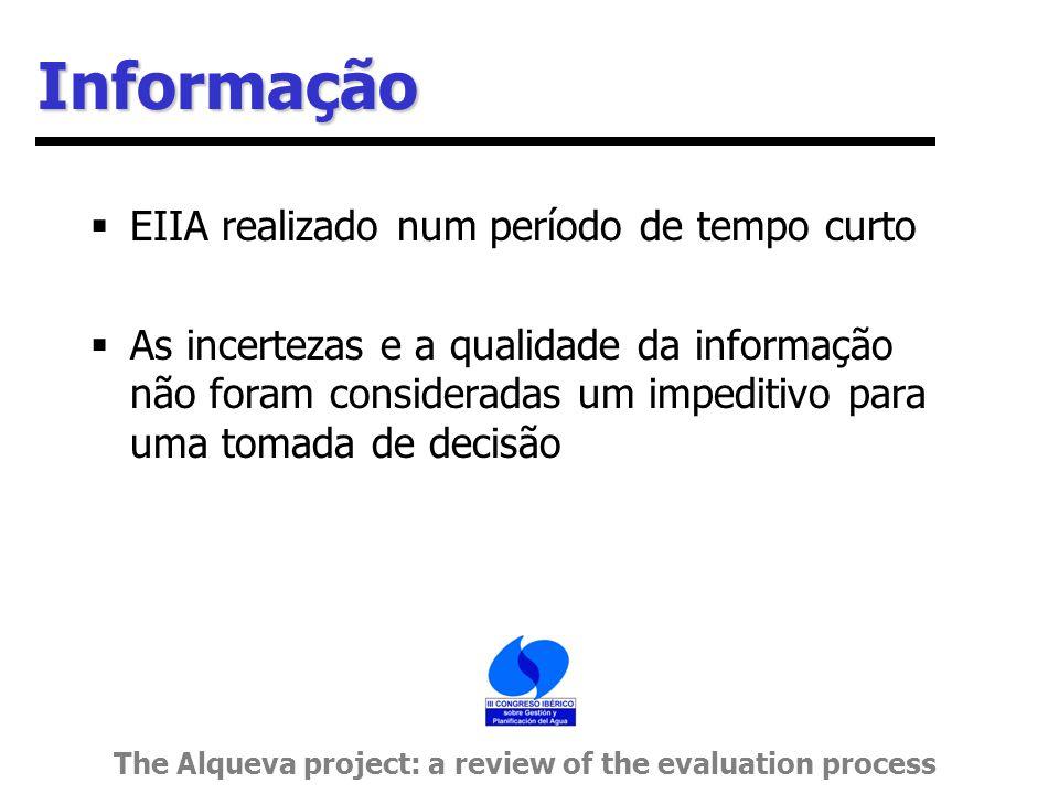 Informação  EIIA realizado num período de tempo curto  As incertezas e a qualidade da informação não foram consideradas um impeditivo para uma tomada de decisão The Alqueva project: a review of the evaluation process