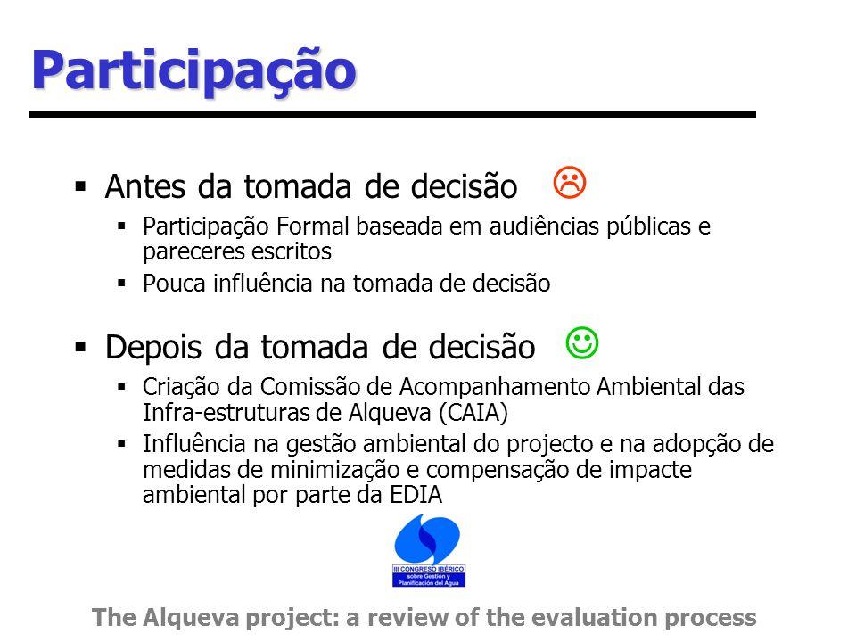 Participação  Antes da tomada de decisão   Participação Formal baseada em audiências públicas e pareceres escritos  Pouca influência na tomada de decisão  Depois da tomada de decisão  Criação da Comissão de Acompanhamento Ambiental das Infra-estruturas de Alqueva (CAIA)  Influência na gestão ambiental do projecto e na adopção de medidas de minimização e compensação de impacte ambiental por parte da EDIA The Alqueva project: a review of the evaluation process