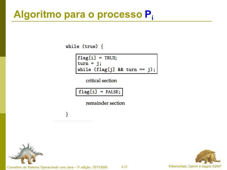 6.11 Silberschatz, Galvin e Gagne ©2007 Conceitos de Sistema Operacional com Java – 7 a edição, 15/11/2006 Algoritmo para o processo P i