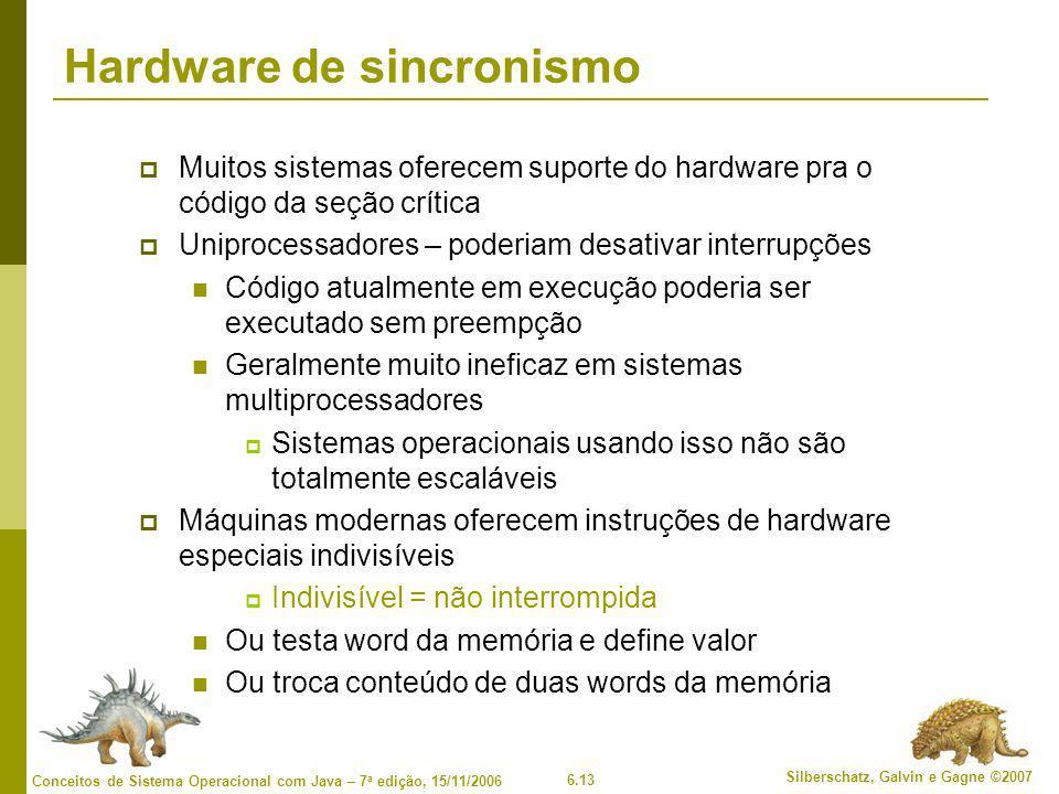 6.13 Silberschatz, Galvin e Gagne ©2007 Conceitos de Sistema Operacional com Java – 7 a edição, 15/11/2006 Hardware de sincronismo  Muitos sistemas o