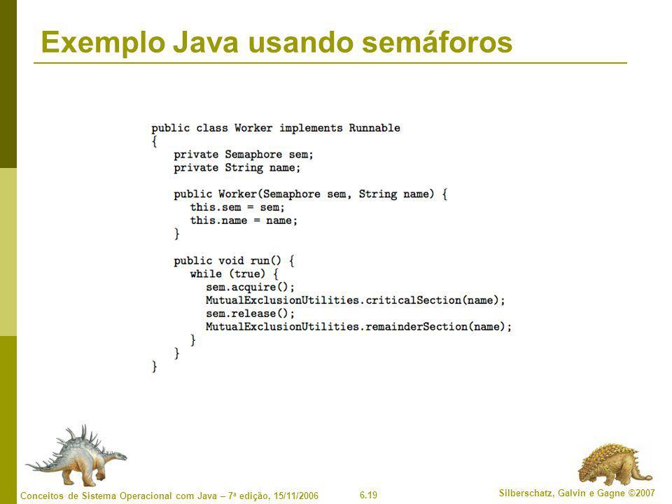 6.19 Silberschatz, Galvin e Gagne ©2007 Conceitos de Sistema Operacional com Java – 7 a edição, 15/11/2006 Exemplo Java usando semáforos