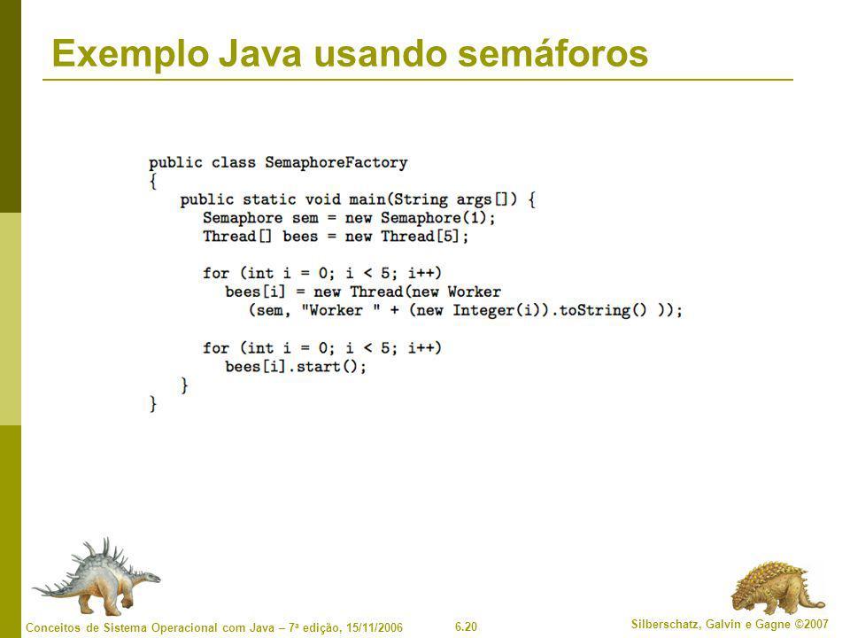 6.20 Silberschatz, Galvin e Gagne ©2007 Conceitos de Sistema Operacional com Java – 7 a edição, 15/11/2006 Exemplo Java usando semáforos