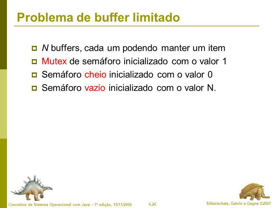 6.26 Silberschatz, Galvin e Gagne ©2007 Conceitos de Sistema Operacional com Java – 7 a edição, 15/11/2006 Problema de buffer limitado  N buffers, ca