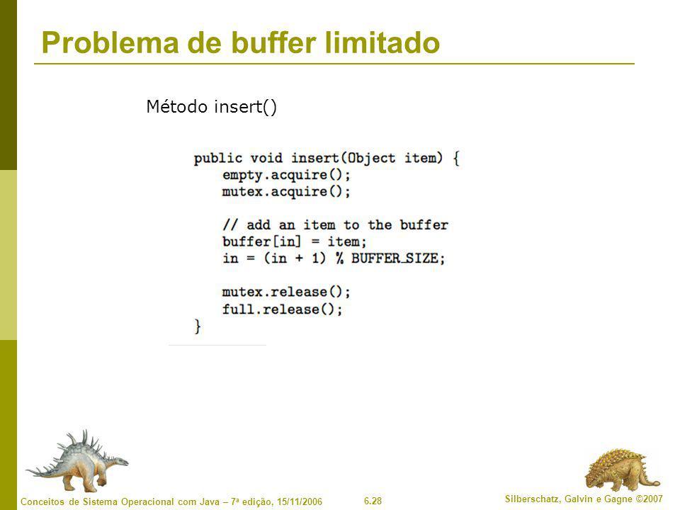 6.28 Silberschatz, Galvin e Gagne ©2007 Conceitos de Sistema Operacional com Java – 7 a edição, 15/11/2006 Problema de buffer limitado Método insert()