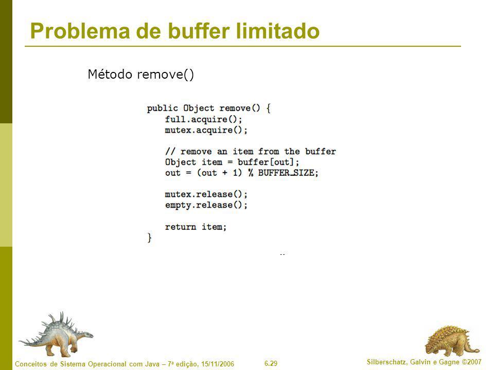 6.29 Silberschatz, Galvin e Gagne ©2007 Conceitos de Sistema Operacional com Java – 7 a edição, 15/11/2006 Problema de buffer limitado Método remove()