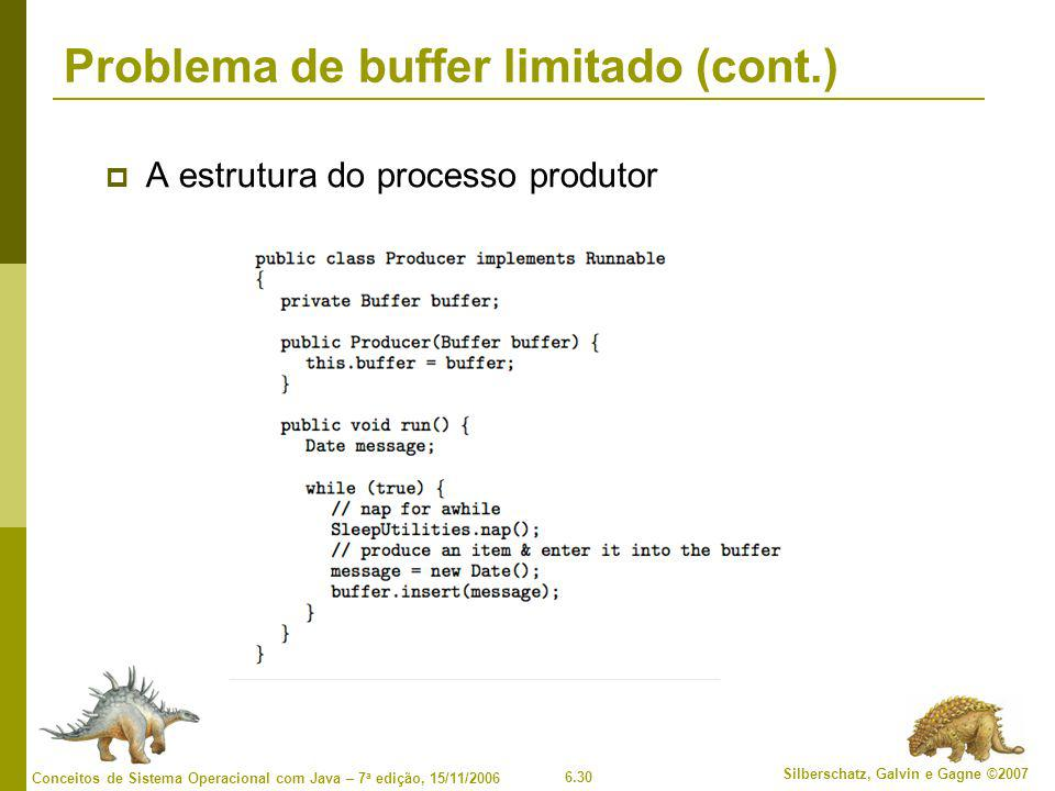 6.30 Silberschatz, Galvin e Gagne ©2007 Conceitos de Sistema Operacional com Java – 7 a edição, 15/11/2006 Problema de buffer limitado (cont.)  A estrutura do processo produtor