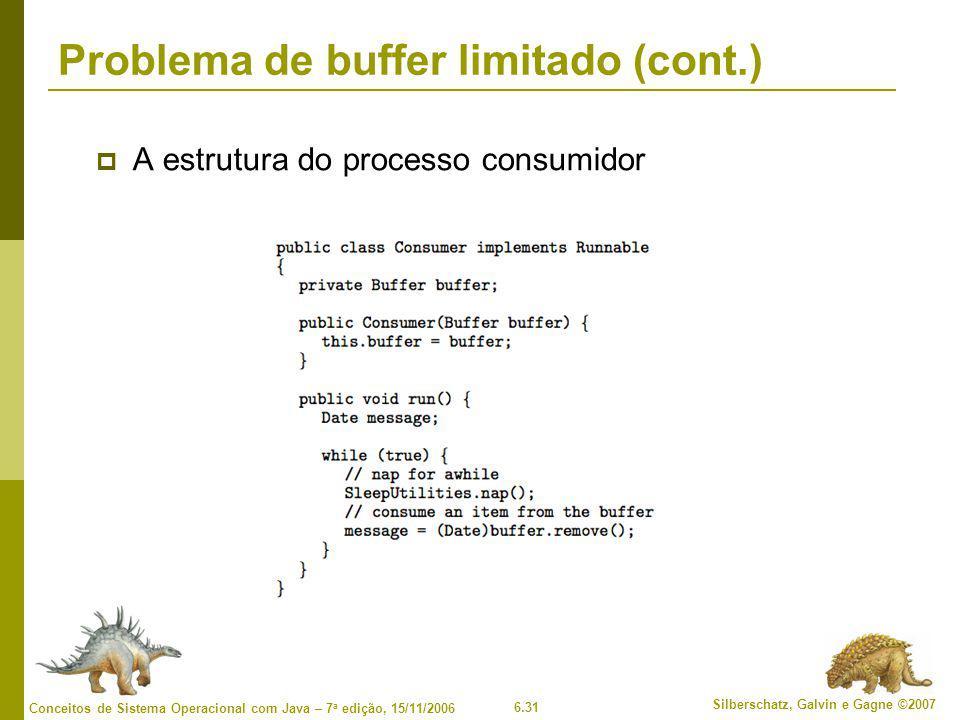 6.31 Silberschatz, Galvin e Gagne ©2007 Conceitos de Sistema Operacional com Java – 7 a edição, 15/11/2006 Problema de buffer limitado (cont.)  A estrutura do processo consumidor