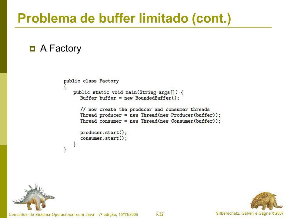 6.32 Silberschatz, Galvin e Gagne ©2007 Conceitos de Sistema Operacional com Java – 7 a edição, 15/11/2006 Problema de buffer limitado (cont.)  A Fac