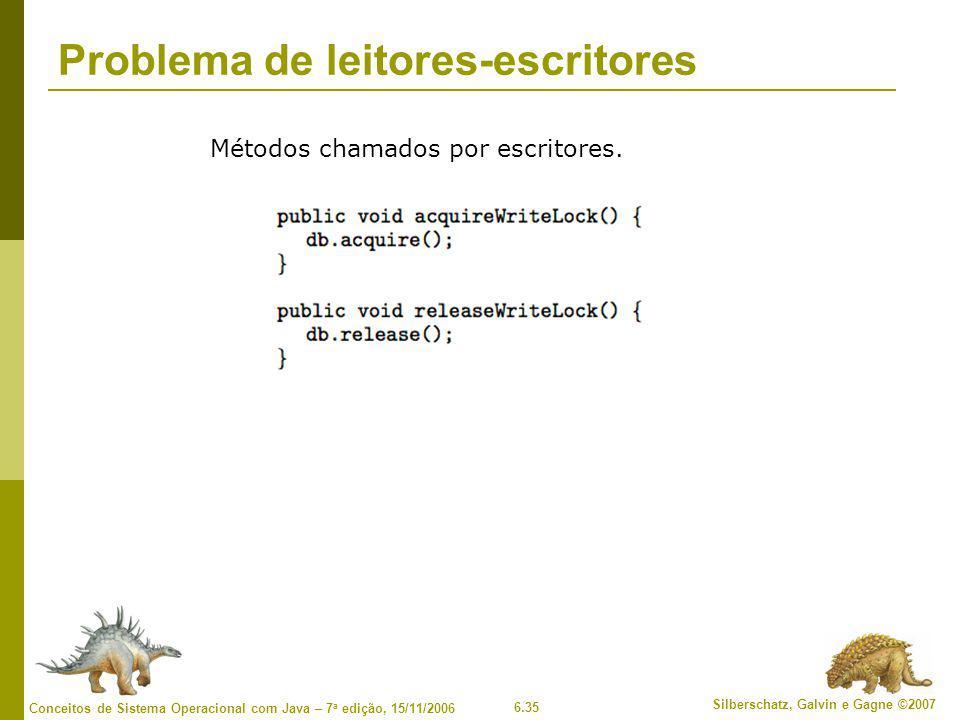 6.35 Silberschatz, Galvin e Gagne ©2007 Conceitos de Sistema Operacional com Java – 7 a edição, 15/11/2006 Problema de leitores-escritores Métodos cha