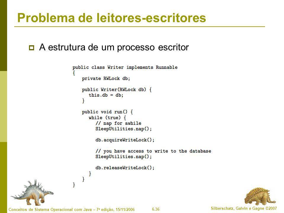 6.36 Silberschatz, Galvin e Gagne ©2007 Conceitos de Sistema Operacional com Java – 7 a edição, 15/11/2006 Problema de leitores-escritores  A estrutu