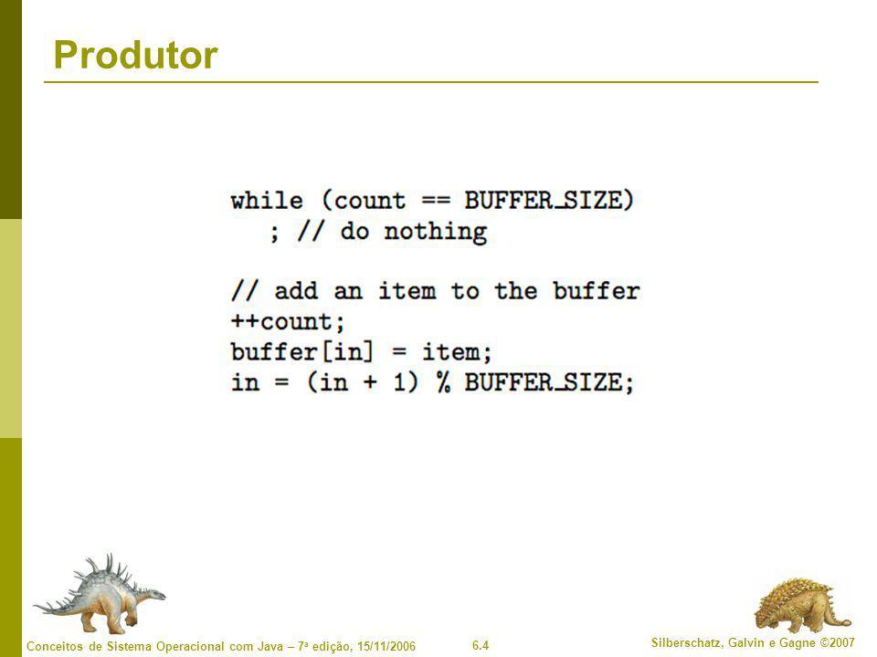 6.25 Silberschatz, Galvin e Gagne ©2007 Conceitos de Sistema Operacional com Java – 7 a edição, 15/11/2006 Problemas clássicos de sincronismo  Problema de buffer limitado  Problema de leitores-escritores  Problema do jantar dos filósofos
