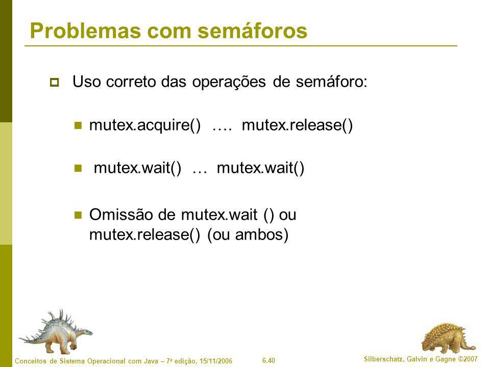 6.40 Silberschatz, Galvin e Gagne ©2007 Conceitos de Sistema Operacional com Java – 7 a edição, 15/11/2006 Problemas com semáforos  Uso correto das operações de semáforo: mutex.acquire() ….