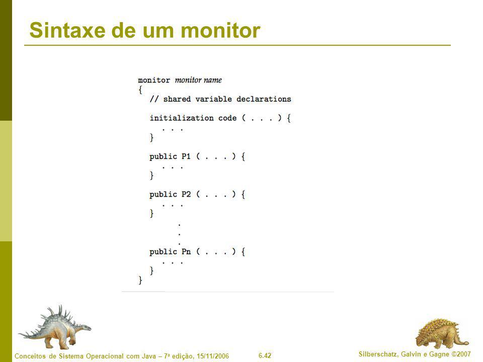 6.42 Silberschatz, Galvin e Gagne ©2007 Conceitos de Sistema Operacional com Java – 7 a edição, 15/11/2006 Sintaxe de um monitor