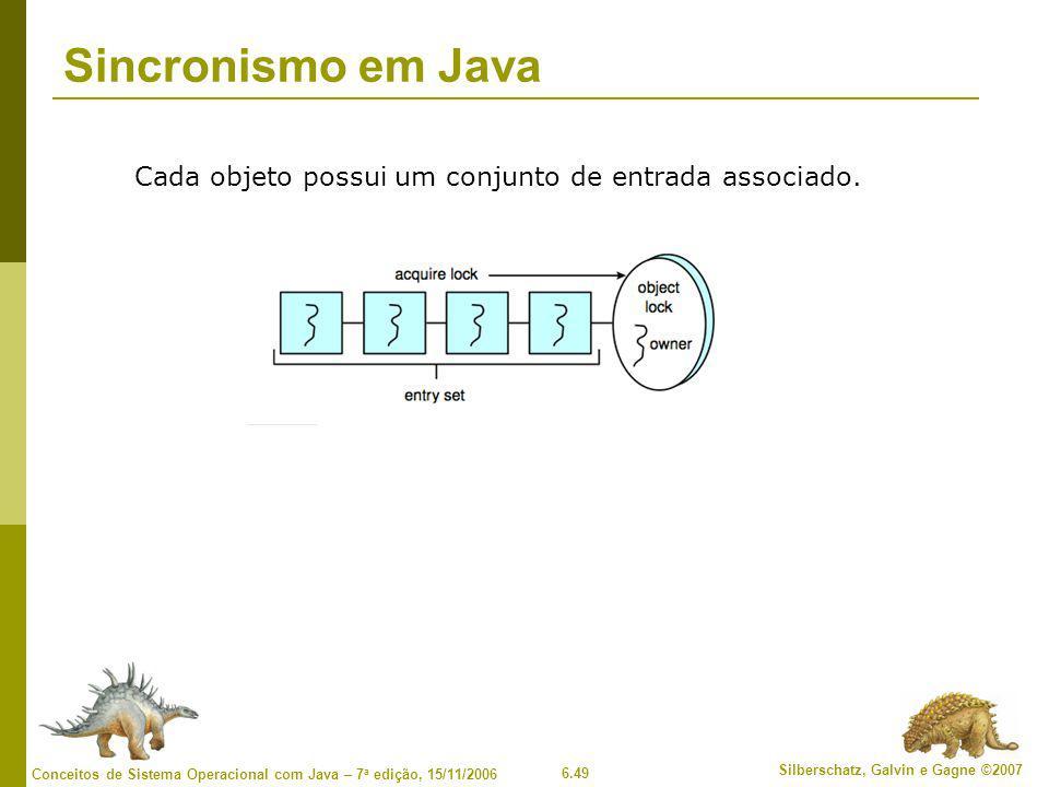 6.49 Silberschatz, Galvin e Gagne ©2007 Conceitos de Sistema Operacional com Java – 7 a edição, 15/11/2006 Sincronismo em Java Cada objeto possui um c