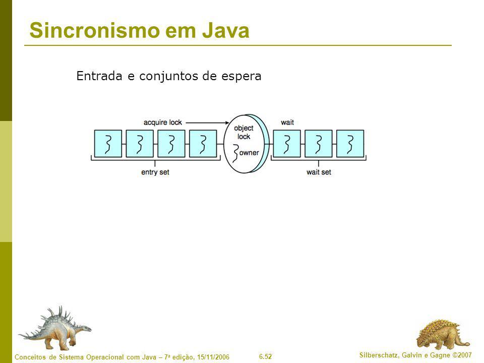 6.52 Silberschatz, Galvin e Gagne ©2007 Conceitos de Sistema Operacional com Java – 7 a edição, 15/11/2006 Sincronismo em Java Entrada e conjuntos de