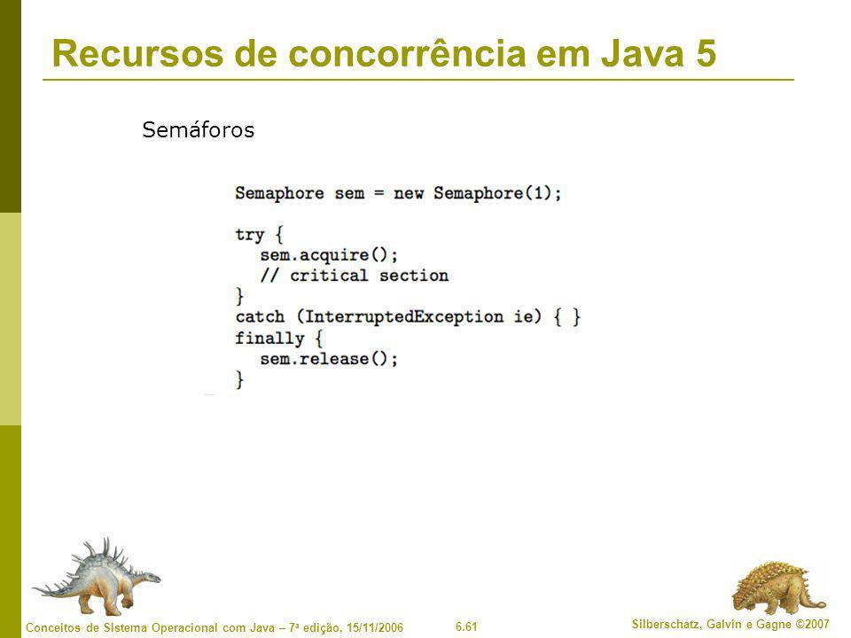 6.61 Silberschatz, Galvin e Gagne ©2007 Conceitos de Sistema Operacional com Java – 7 a edição, 15/11/2006 Recursos de concorrência em Java 5 Semáforos
