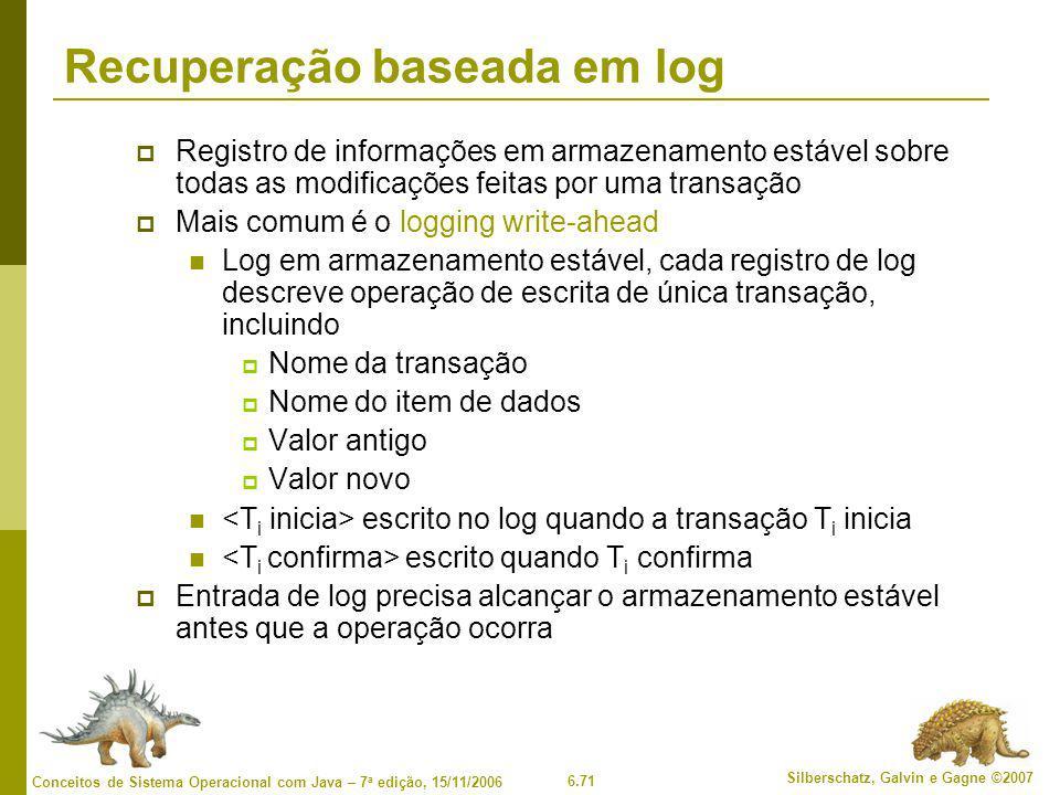 6.71 Silberschatz, Galvin e Gagne ©2007 Conceitos de Sistema Operacional com Java – 7 a edição, 15/11/2006 Recuperação baseada em log  Registro de informações em armazenamento estável sobre todas as modificações feitas por uma transação  Mais comum é o logging write-ahead Log em armazenamento estável, cada registro de log descreve operação de escrita de única transação, incluindo  Nome da transação  Nome do item de dados  Valor antigo  Valor novo escrito no log quando a transação T i inicia escrito quando T i confirma  Entrada de log precisa alcançar o armazenamento estável antes que a operação ocorra