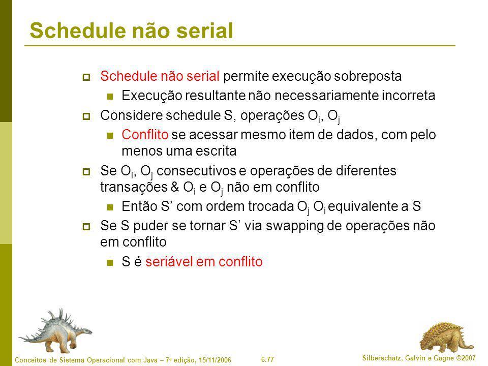 6.77 Silberschatz, Galvin e Gagne ©2007 Conceitos de Sistema Operacional com Java – 7 a edição, 15/11/2006 Schedule não serial  Schedule não serial p