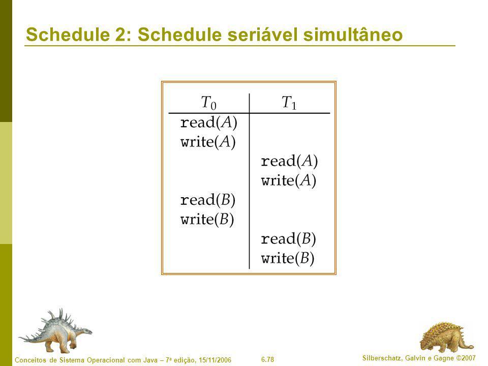 6.78 Silberschatz, Galvin e Gagne ©2007 Conceitos de Sistema Operacional com Java – 7 a edição, 15/11/2006 Schedule 2: Schedule seriável simultâneo