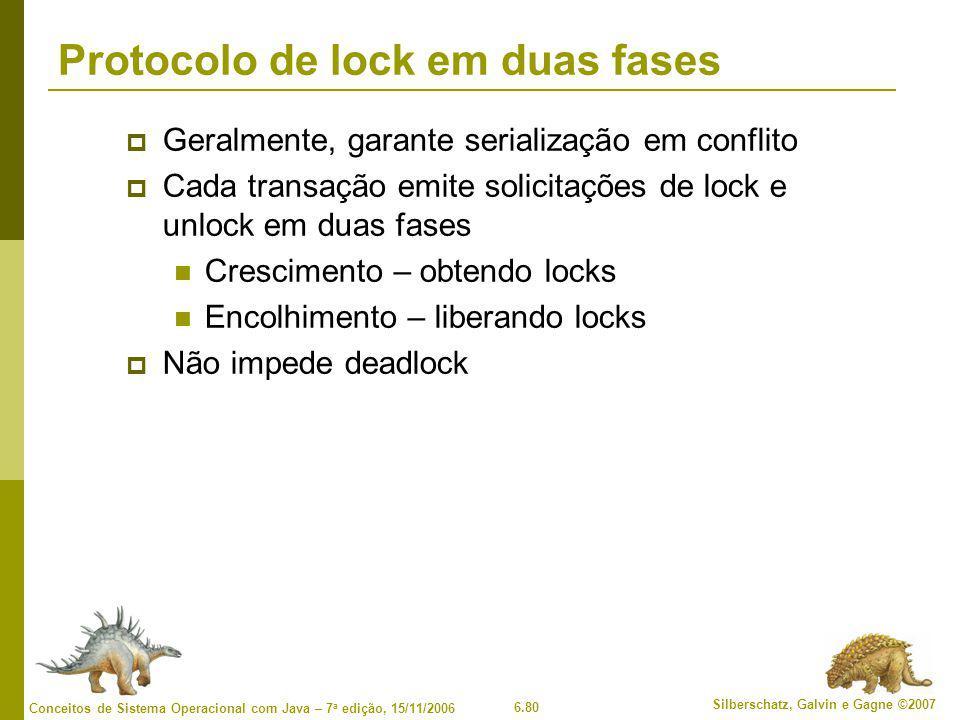 6.80 Silberschatz, Galvin e Gagne ©2007 Conceitos de Sistema Operacional com Java – 7 a edição, 15/11/2006 Protocolo de lock em duas fases  Geralment