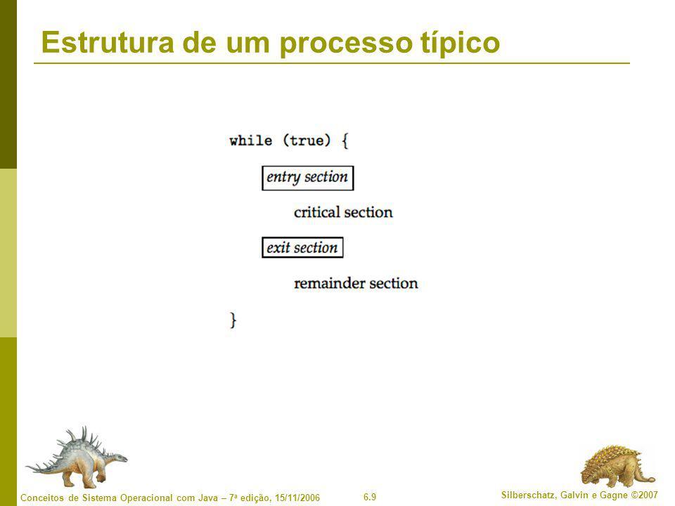 6.10 Silberschatz, Galvin e Gagne ©2007 Conceitos de Sistema Operacional com Java – 7 a edição, 15/11/2006 Solução de Peterson  Solução em dois processos  Suponha que as instruções LOAD e STORE sejam indivisíveis; ou seja, não podem ser interrompidas.