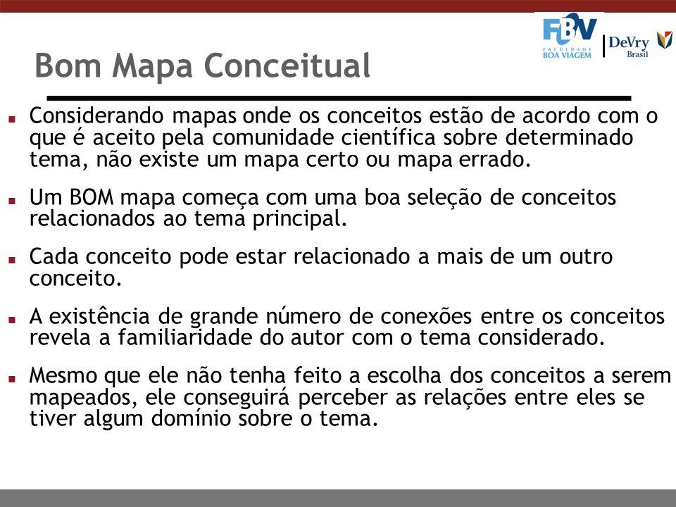 Bom Mapa Conceitual n Considerando mapas onde os conceitos estão de acordo com o que é aceito pela comunidade científica sobre determinado tema, não existe um mapa certo ou mapa errado.