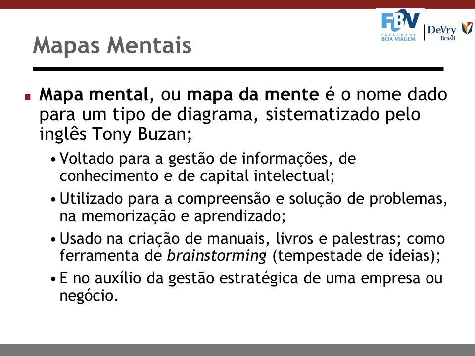 Mapas Mentais n Mapa mental, ou mapa da mente é o nome dado para um tipo de diagrama, sistematizado pelo inglês Tony Buzan; Voltado para a gestão de i