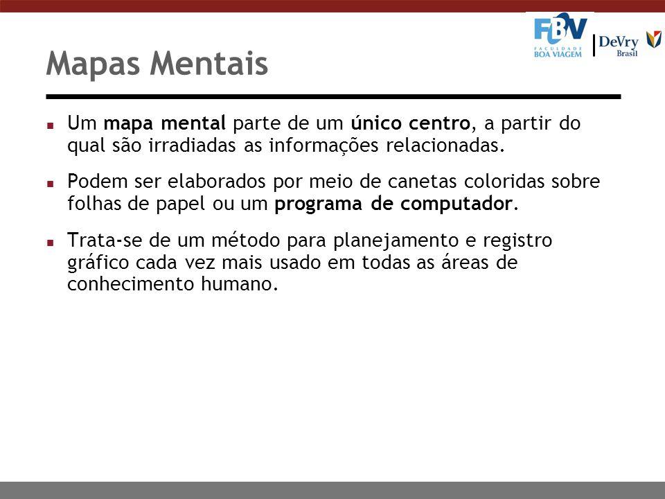 Mapas Mentais n Um mapa mental parte de um único centro, a partir do qual são irradiadas as informações relacionadas. n Podem ser elaborados por meio
